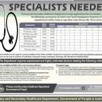 Specialist Cadre Doctor BS-18 Jobs 2017 For THQ, DHA Hospital Punjab