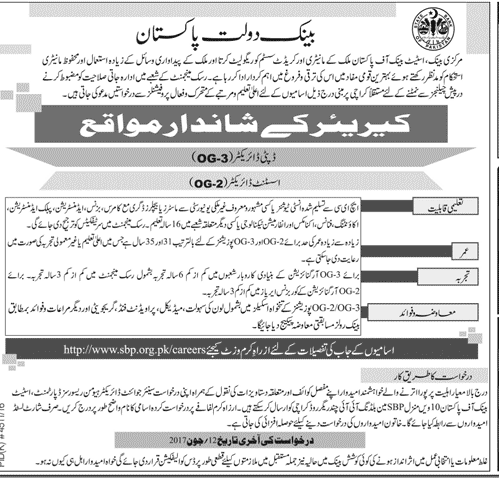 State Bank of Pakistan OG-3, OG2 SBP Jobs 2017 Deputy and Assistant Director