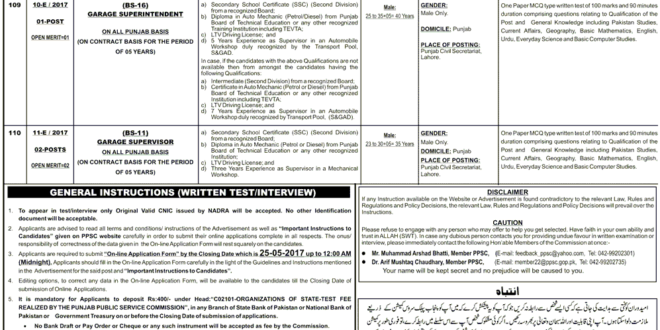PPSC Jobs 2017 Punjab CIVIL Secretariat Lahore May Advertisement