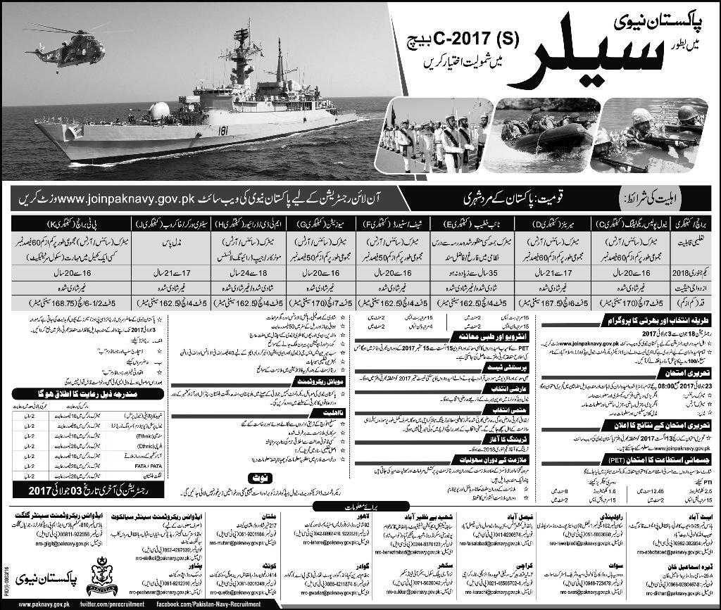 Pakistan Navy Sailor C Batch Jobs 2017 Online Registration www.joinpaknavy.gov.pk