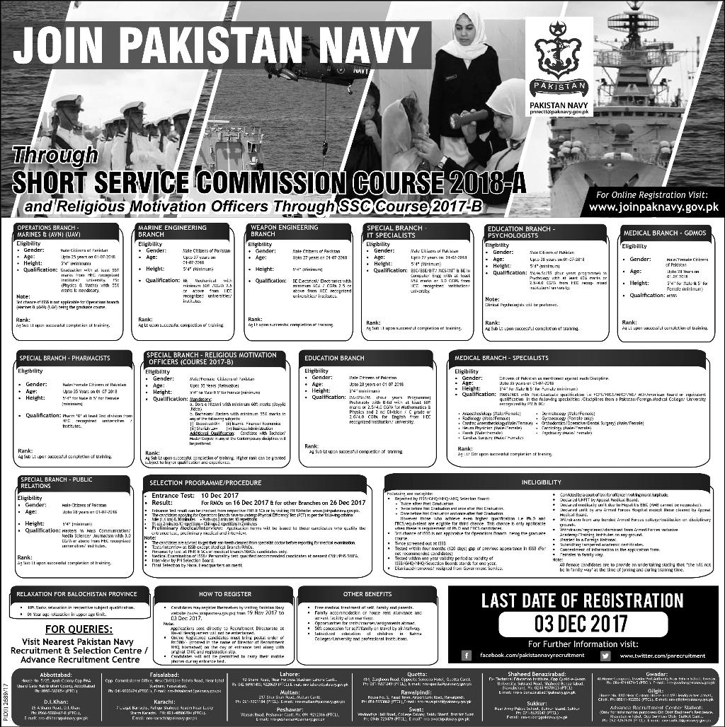 Pakistan Navy Short Service Commission Course 2018 A Registration Form Date