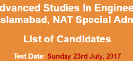 CASE University Islamabad Admission NAT NTS Test Result 2017 23rd July