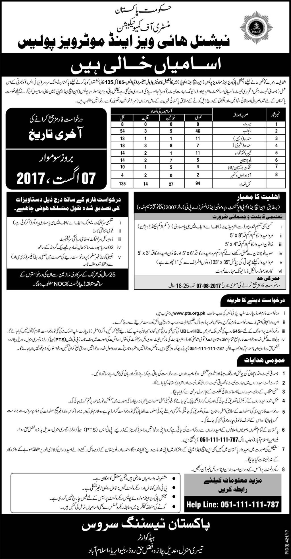National Highways and Motorway Police Jobs 2017 PTS Form Constable, Junior Petrol Officers 135 Seats
