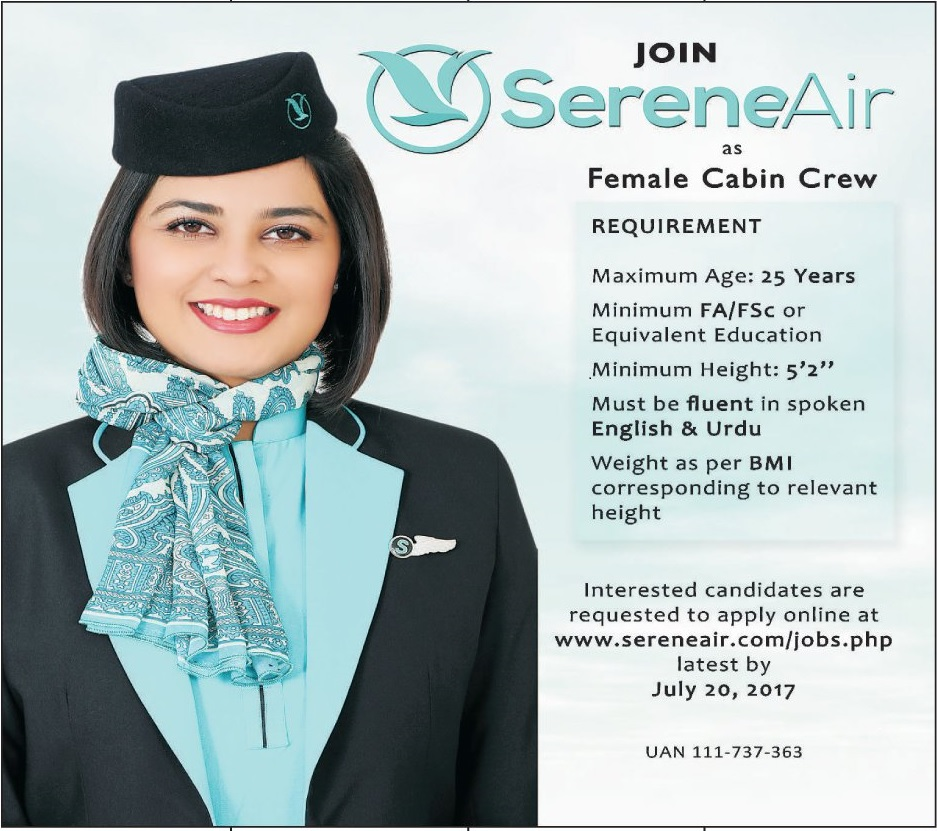 Serene Air Pakistan Jobs 2017 Female Cabin Crew Islamabad Application Form