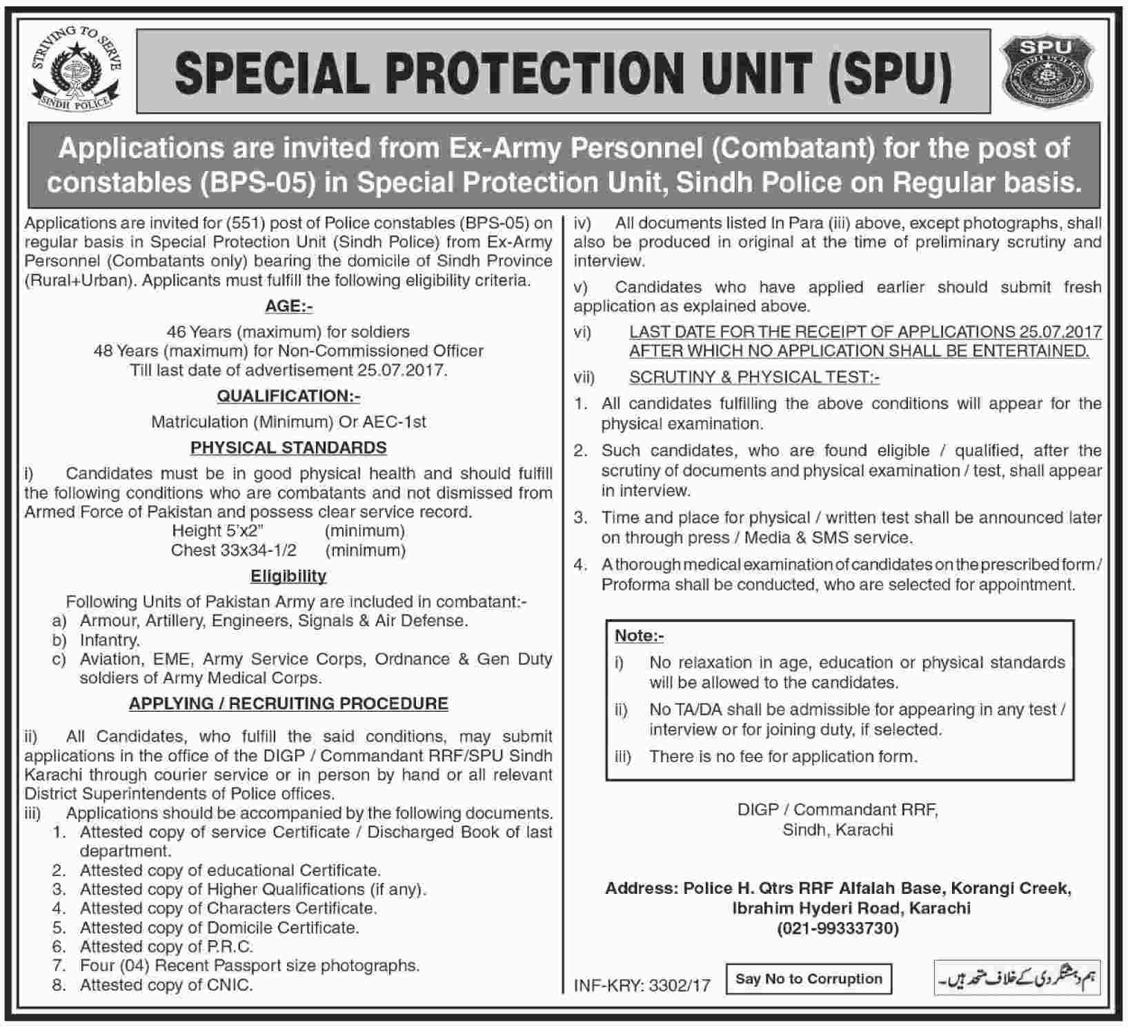 Special Protection Unit Sindh Constable Jobs 2017 BPS-5 for Army Retired Applicants