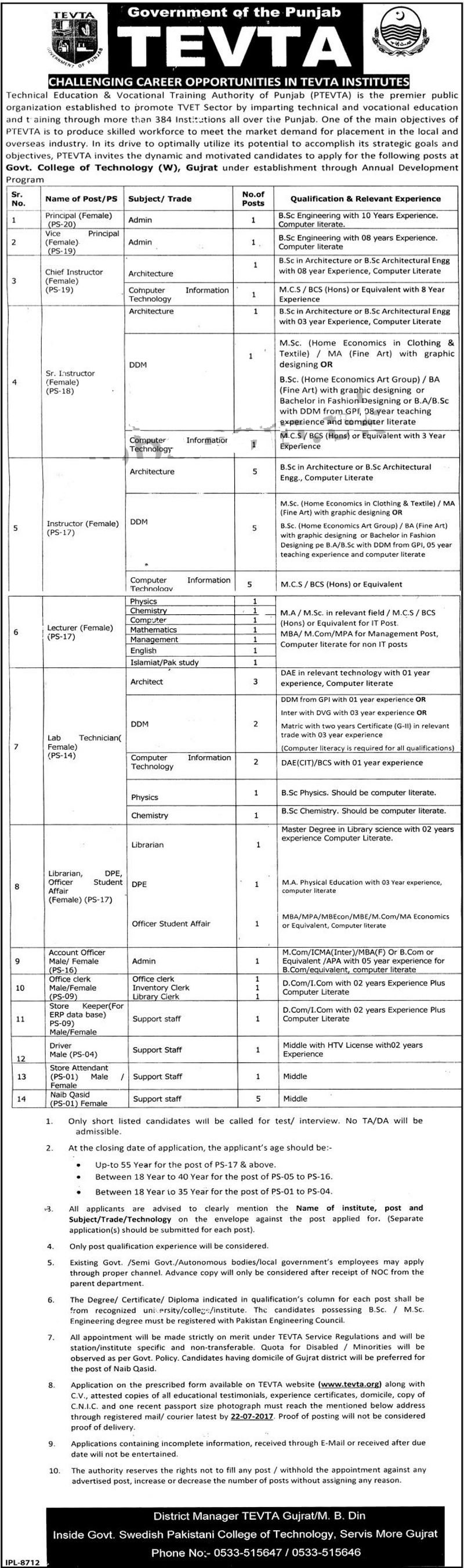 Technical Education & Vocational Training Authority Female Jobs 2017 Form