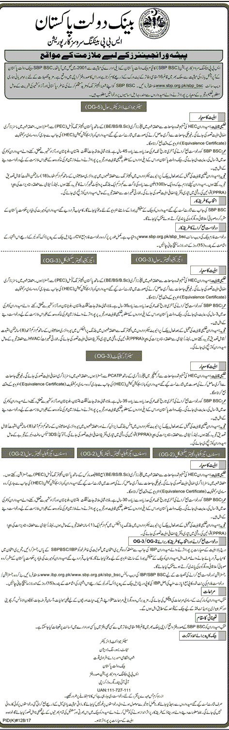 SBP Engineers Jobs 2017 State Bank of Pakistan OG-5 Application Form