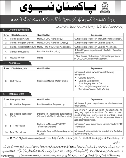 How to Join Pakistan Navy jobs 2017 as Doctor, Staff Nurse, Technical Staff