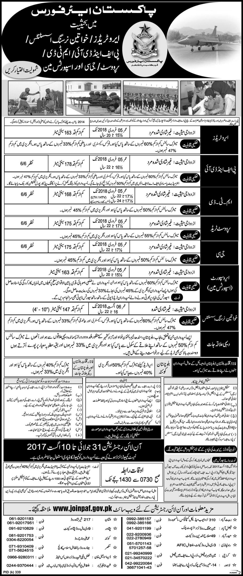 PAF Jobs 2018 For Female, Male Pakistan Air Force Online Form www.joinpaf.gov.pk