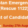 Rescue 1122 Gilgit Baltistan Emergency Services NTS Test Result 2017 27th August