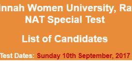 FJWU Rawalpindi NTS NAT Test Result 2017 10th September Answer Keys