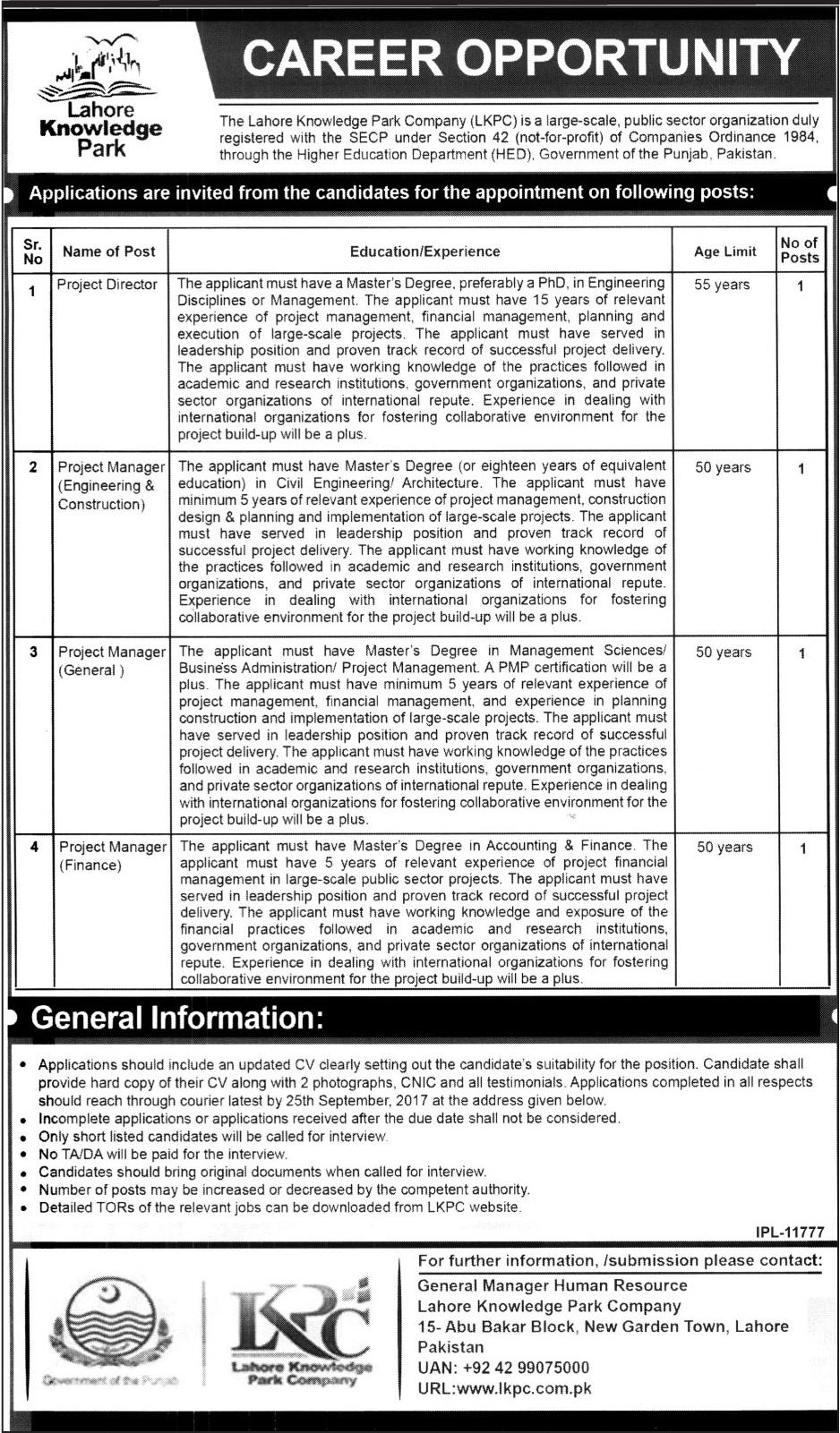 Lahore Knowledge Park Company Jobs 2017 KPK September Advertisement