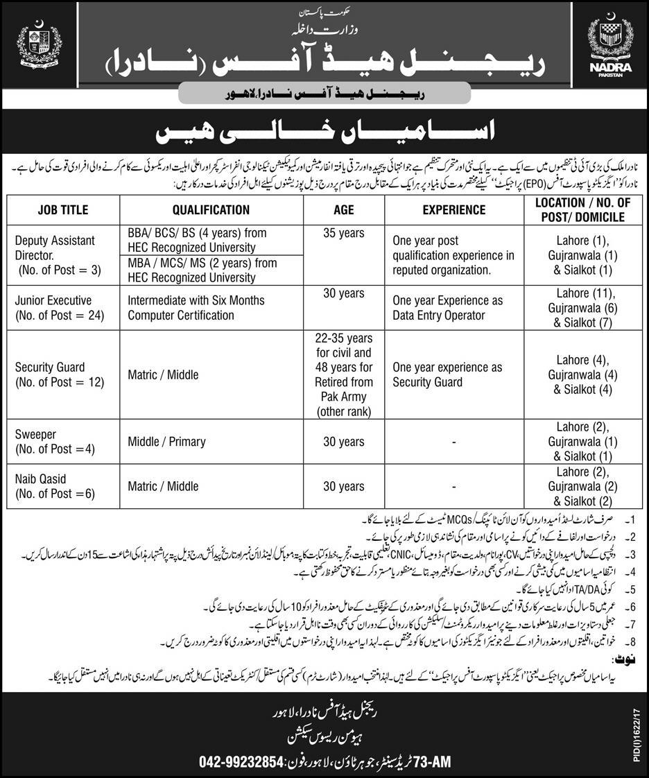 Nadra Jobs 2017 in Lahore Head Office Vacancies ...