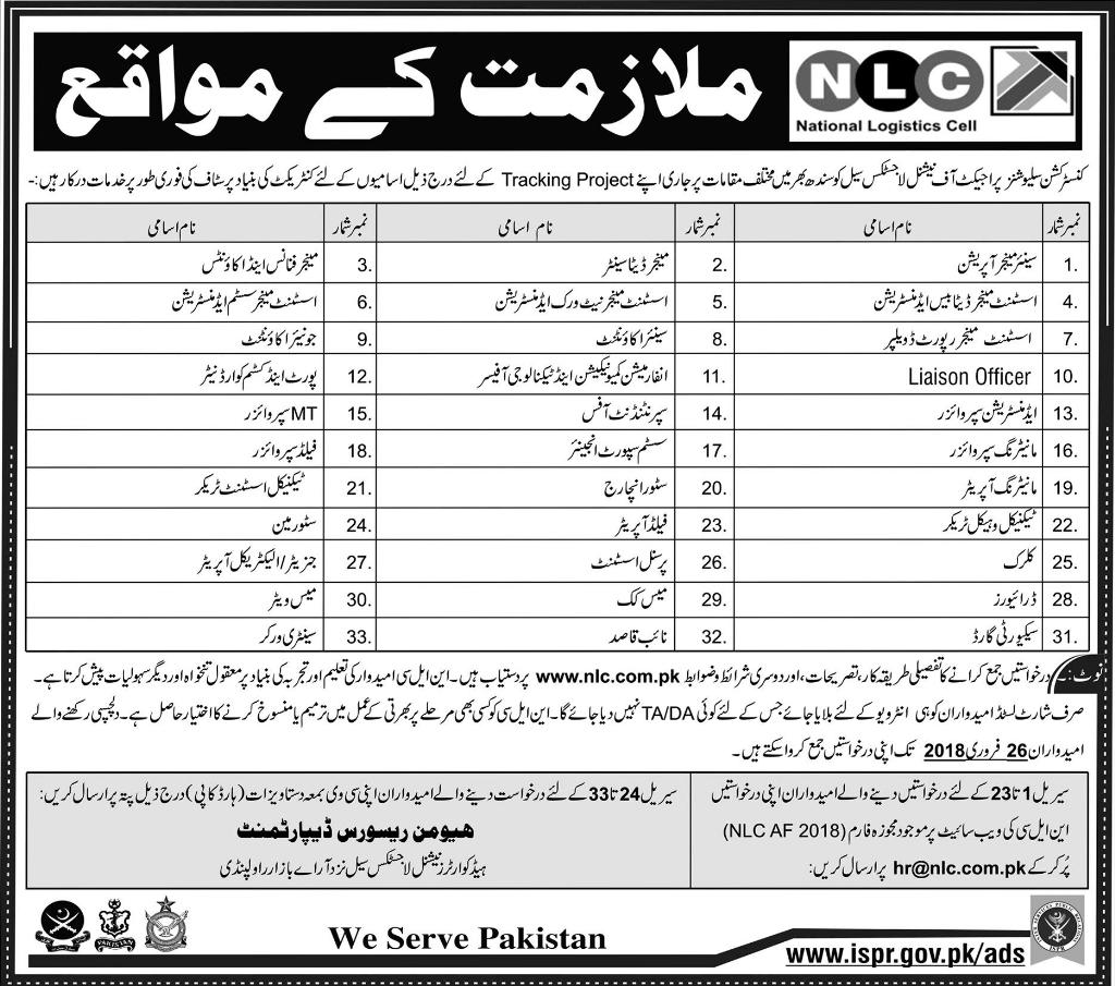 National Logistic Cell Rawalpindi Jobs 2018 Application Form How Apply