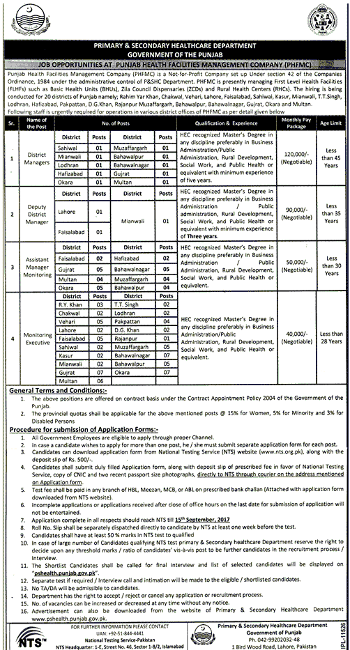 Primary and Secondary Healthcare Departments NTS Jobs 2017 September Advertisement