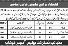 Punjab Police Department Jobs 2017 in Khushab Application Form