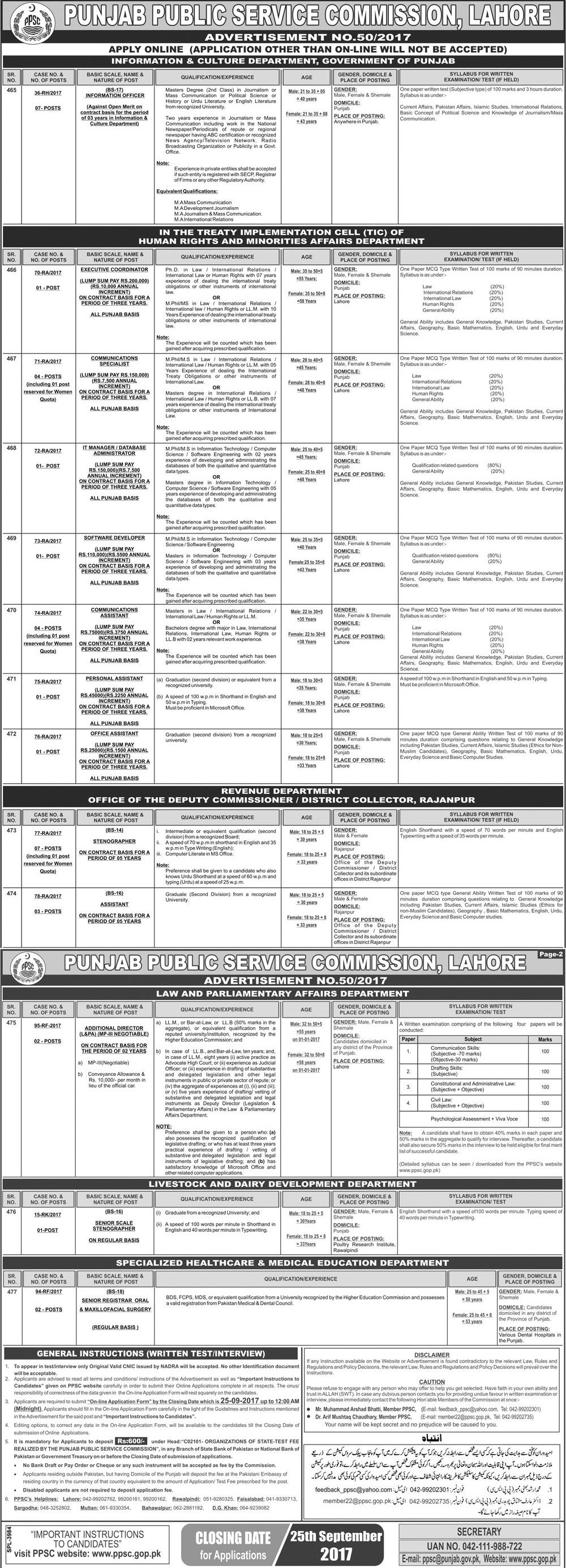 Punjab Public Service Commission PPSC jobs 2017 GOVT Departments September Advertisement