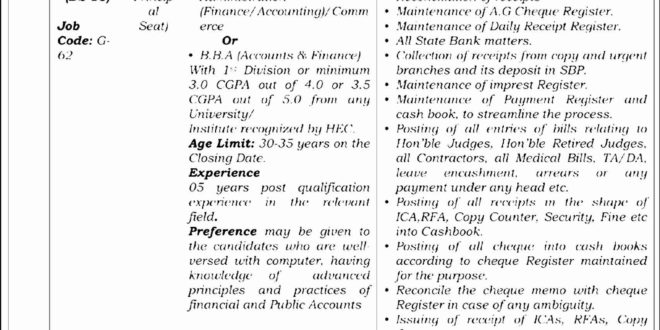 Lahore High Court Jobs 2017 Accounts Officer, Treasury Officer November Advertisement