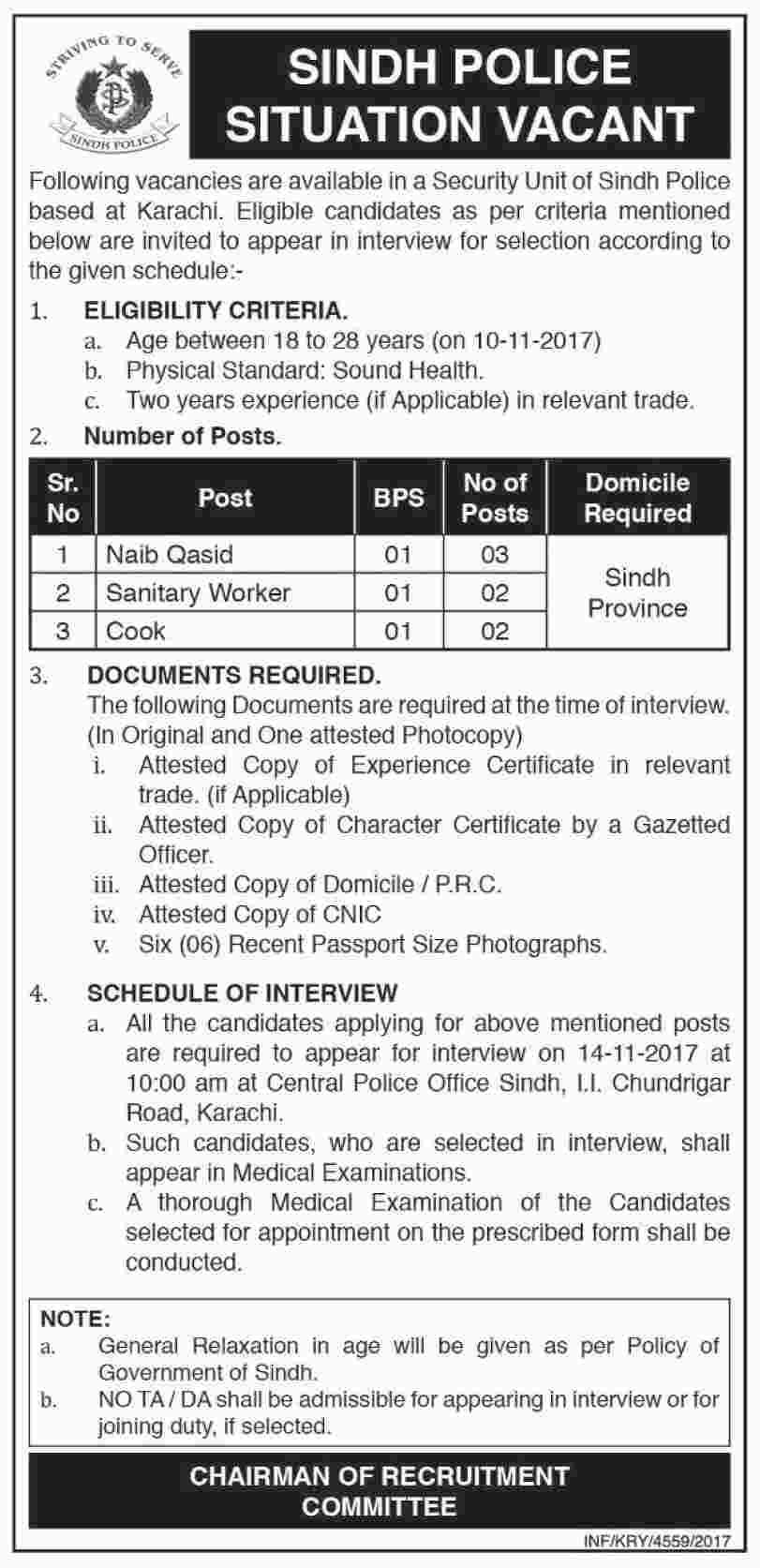 Jobs In Sindh Police Karachi 2017 Test U0026 Interview Date