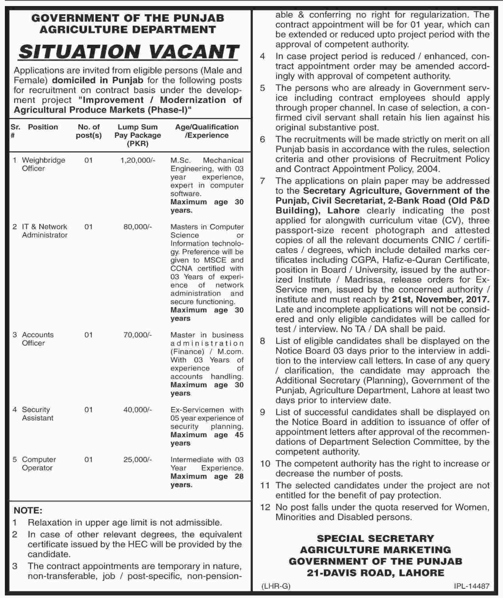 Agriculture Department Punjab Lahore Jobs 2018 Application Form November Advertisement