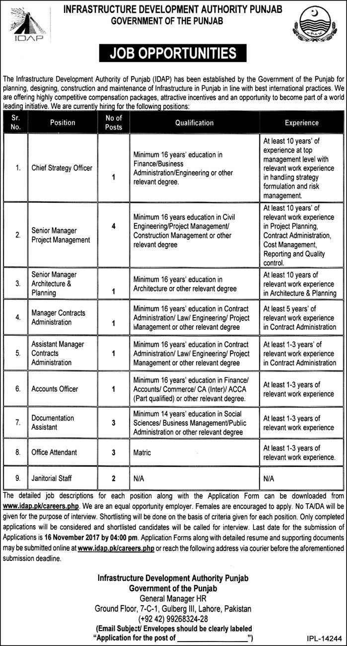 Infrastructure Development Authority Punjab Jobs 2017 IDAP Lahore Application Form