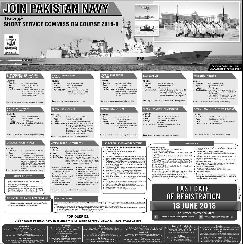 Join Pakistan Navy Short Service Commission Course 2018 B Online Registration June Advertisement