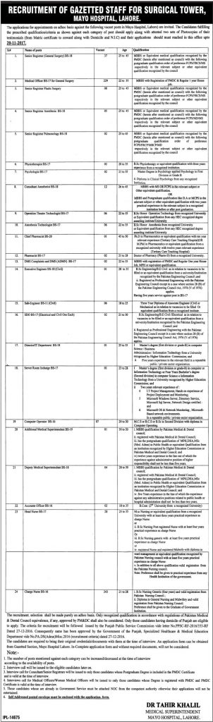 Mayo Hospital Lahore Jobs 2017 November Application Form Interview Date