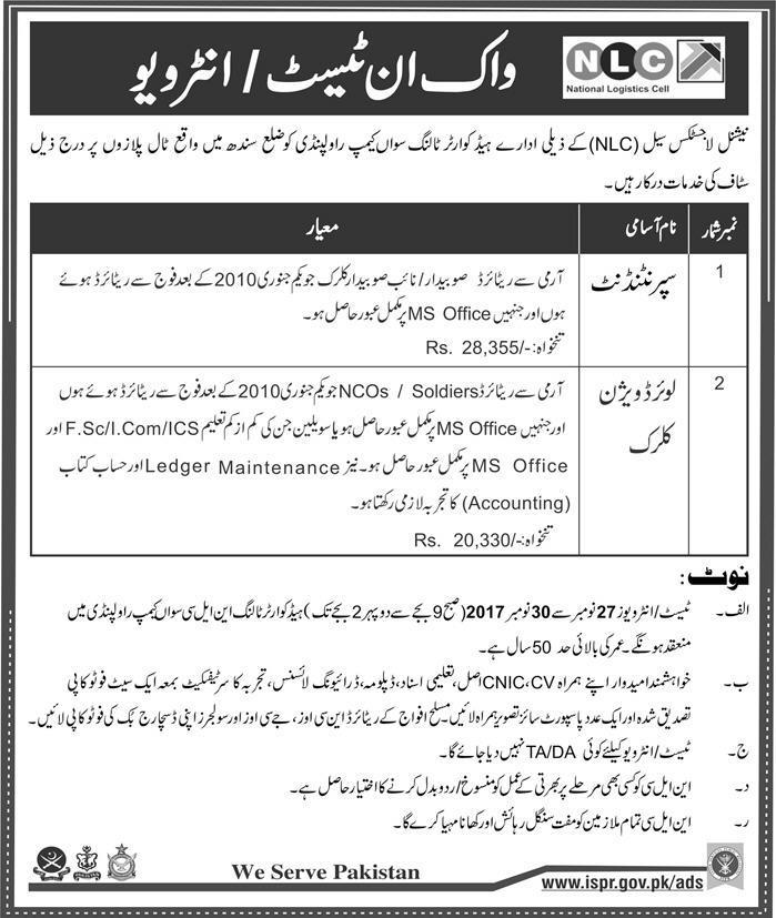 NLC Rawalpindi Jobs 2017 Clerk, Superintendent www.nlc.com.pk Application Form