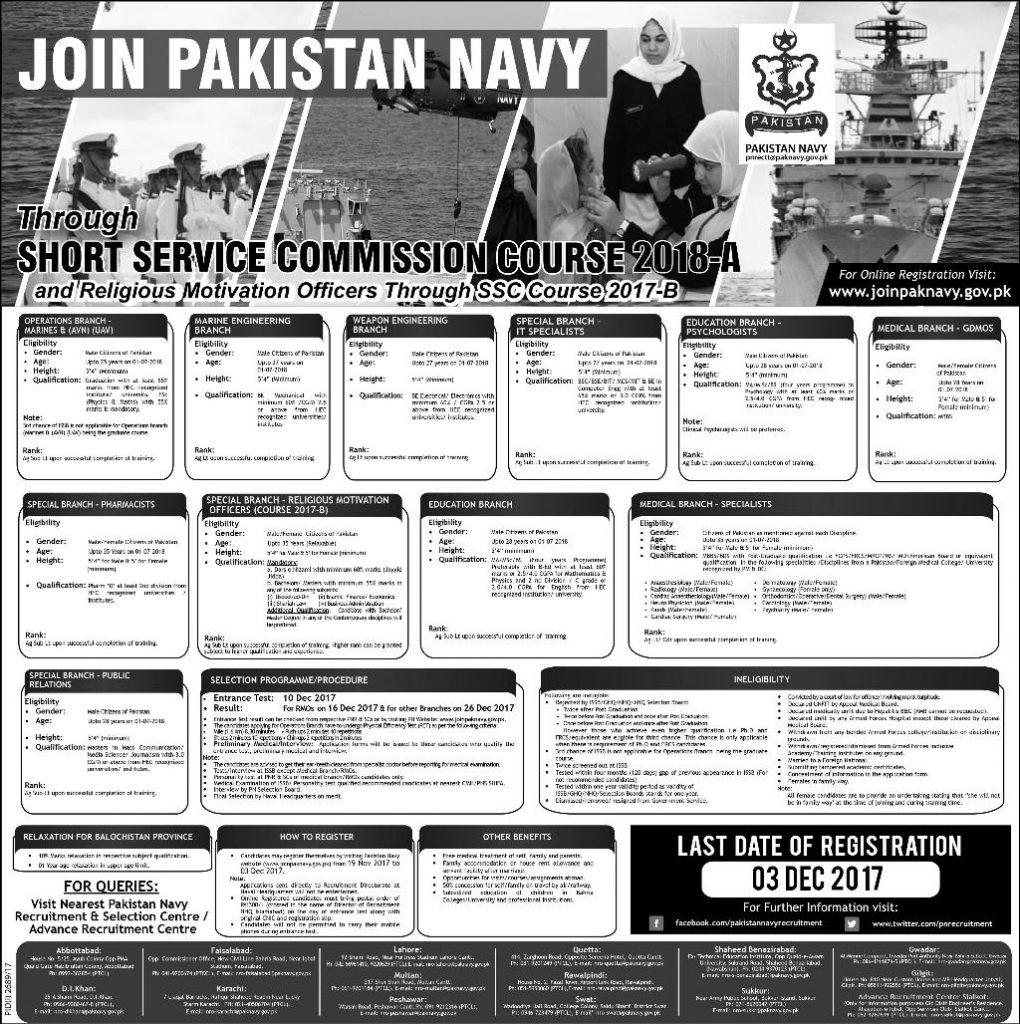 Pak Navy Short Service Commission 2018-A Jobs SSC Online Registration November Advertisement