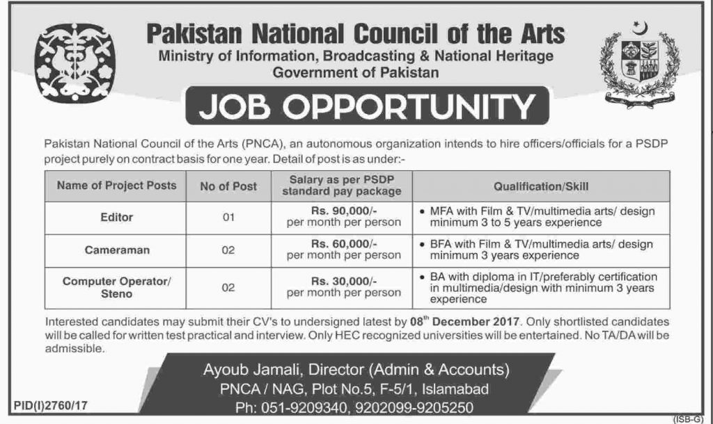 Pakistan National Council Of The Arts Islamabad Jobs 2017 PNCA December Advertisement