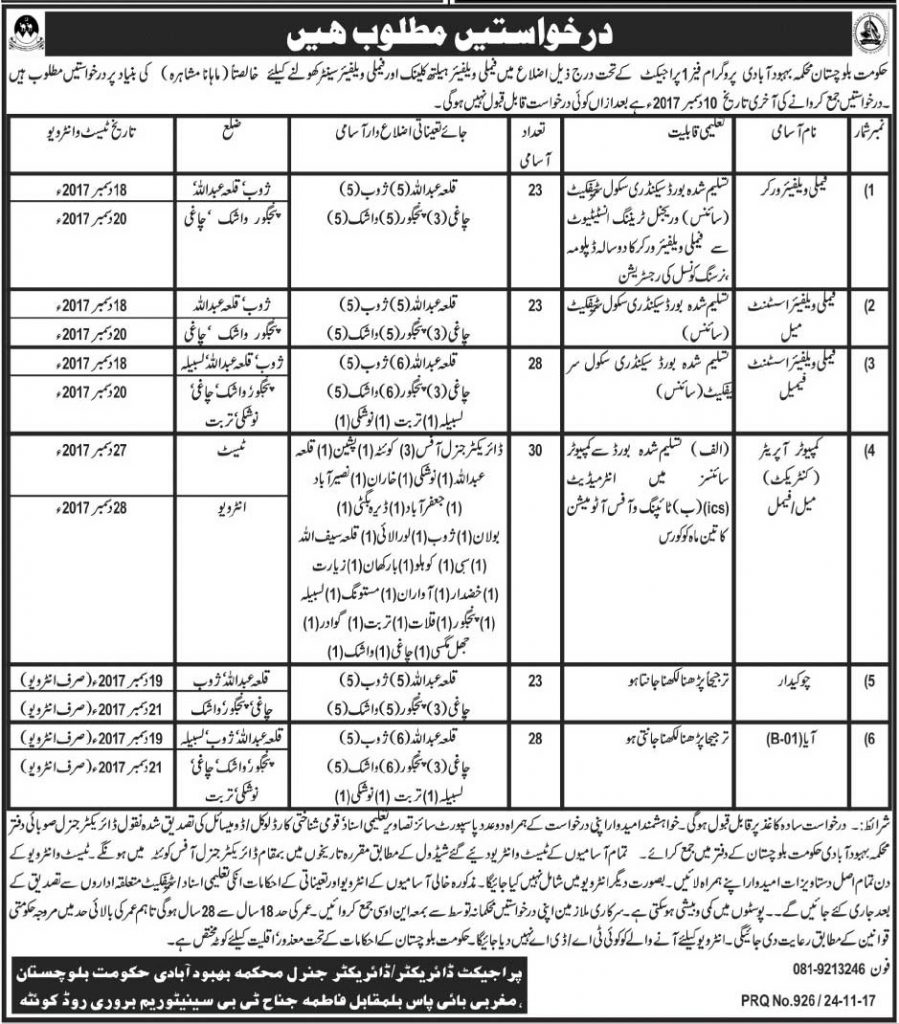 Population Welfare Department Balochistan Jobs 2017 Written Test, Interview, Application Form: Government of Balochistan announced many jobs. Seekers today Balochistan government announced jobs in population Welfare Department jobs 2017. Government of Balochistan Population Welfare Department jobs 2017 is recruitment on Population Welfare department phase I Project. Population Welfare Department is a government department and he is working under the government of Balochostan. Population Welfare Department jobs 2017 apply procedure is very easy written application and attached educational documents, experience certificate, domicile and many others. After written application submit address given below. Applicant must submit application form within 15 days. Remember candidates must you will bring on interview date all original required documents. Balochistan Population Welfare Department jobs reserved quota for Disable and Minority (Non-Muslim) quota under the balochistan government policy. Balochistan Government jobs 2017 required age limit 18 to 28 years. Government of Balochistan population Welfare Department jobs 2017 eligibility criteria for each post, apply procedure requirements, application form last date, Test interview date, address for submission application form and related all information available on this page www.pakijjobs.pk. Post Name for Population Welfare Department jobs 2017 •Family Welfare Worker - 23 posts  •Family Welfare Assistant Male – 23 posts  •Family Welfare Assistant Female – 28 posts  •Computer Operator – 30 posts  •Chowkidar – 23 posts  Population Welfare Department Balochistan Jobs 2017 Written Test, Interview, Application Form •AYA – 28 posts Eligibility Criteria for Balochistan Government Jobs 2017  •Family Welfare Worker post name --- eligibility criteria --- education requirement Middle certificate with family Welfare 2 years Diploma  •Family Welfare Assistant Male post eligibility criteria requirement is Middle Certificate  •Family