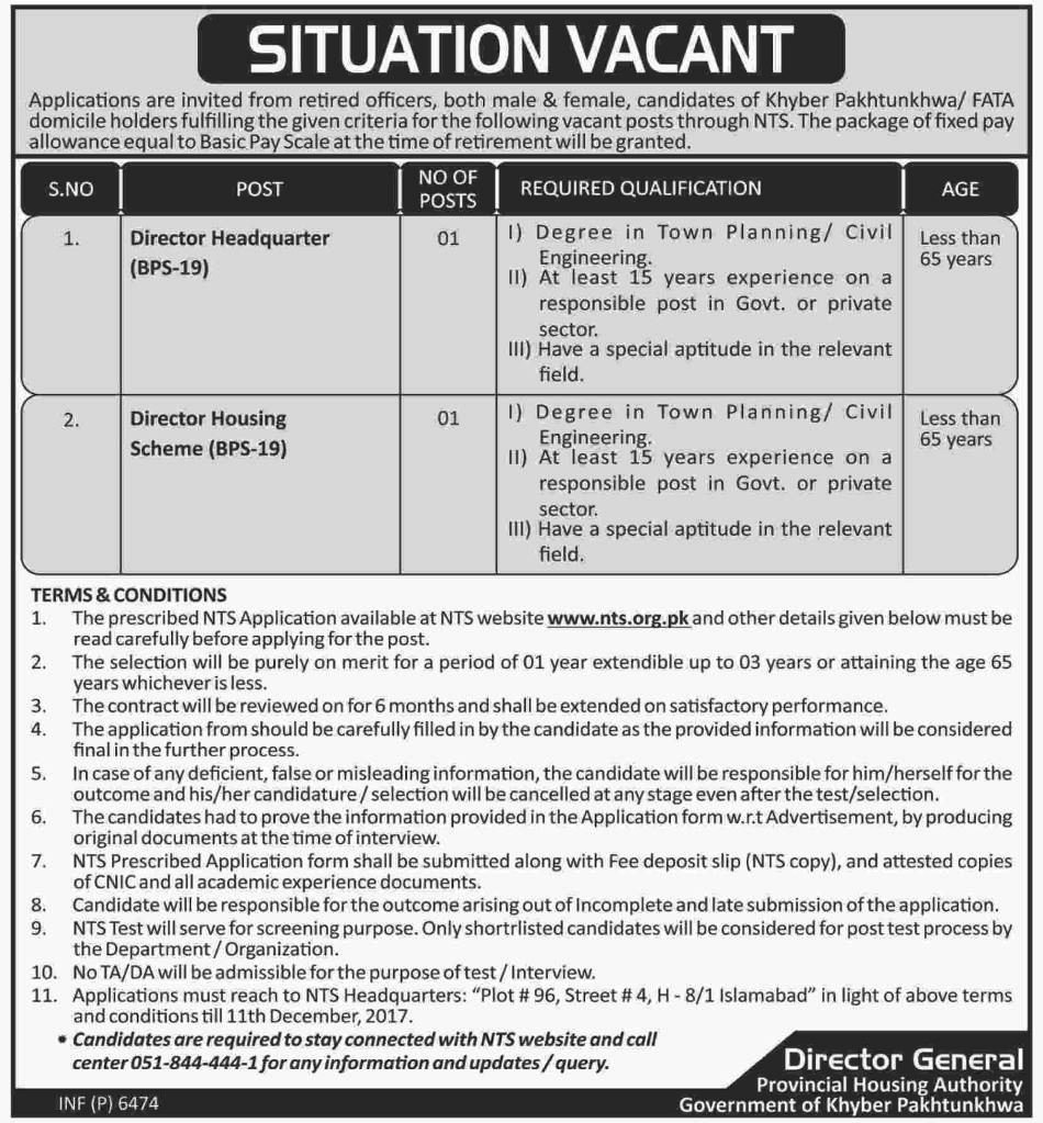 Provincial Housing Authority KPK Jobs 2017 PHA NTS Application Form November Advertisement