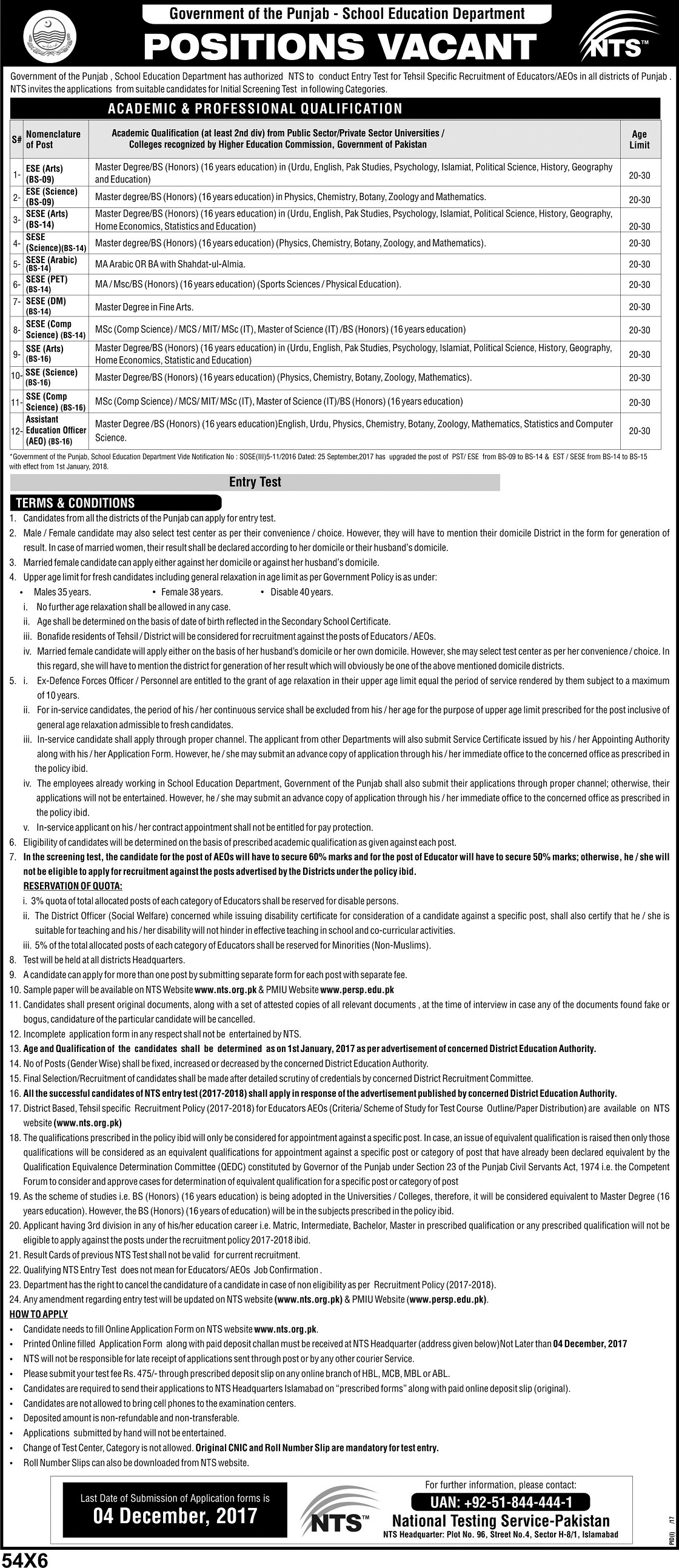 Punjab ESE, SESE, SSE, AEO Jobs 2017-2018 Educators NTS Form Online
