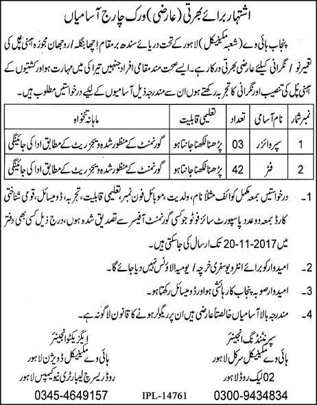 Punjab Highway Department Lahore Jobs 2017 November Advertisement Apply Procedure