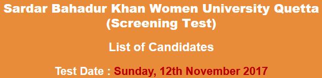 Sardar Bahadur Khan Women University Quetta SBK Jobs NTS Test Result 2017 Professor Lecturer 12th November