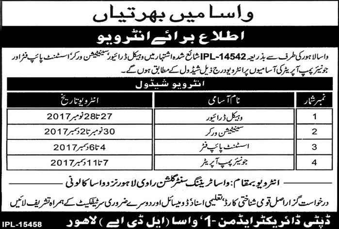WASA Jobs Lahore 2017 LDA Water and Sanitation Agency Application Form
