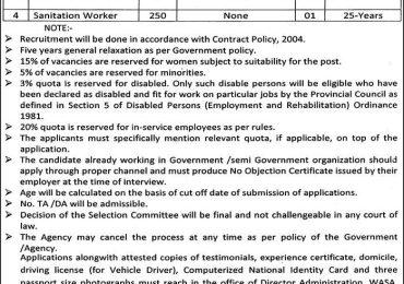 WASA LDA Lahore Jobs 2017 Driver, Pump Operator, Pipefitter, Sanitation Worker