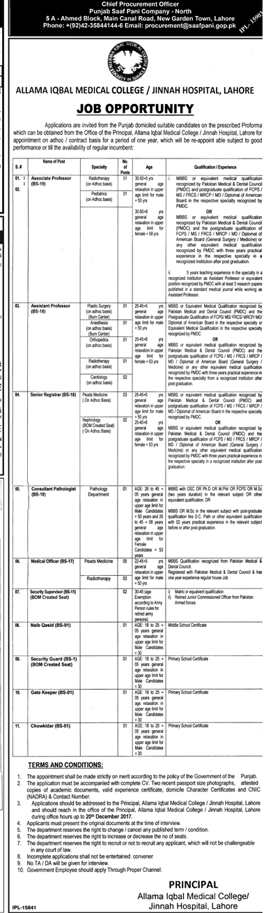 AIMC Lahore Jinnah Hospital Jobs 2018 Advertisement Application Form