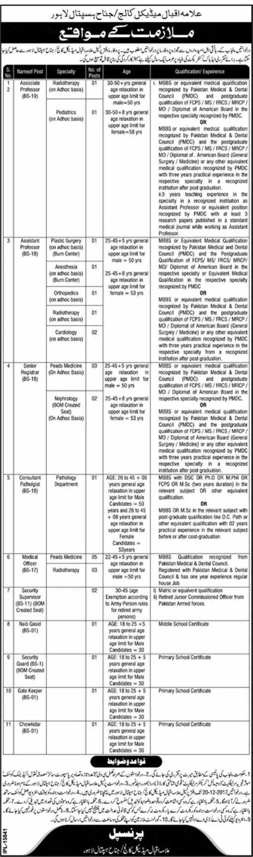 Allama Iqbal Medical College Lahore Jobs 2017 Professor, Medical officer Jinnah Hospital Government Vacancies