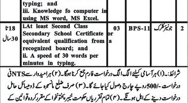 Deputy Commissioner Mansehra NTS Jobs 2018 Junior Clerk, Stenographer Application Form