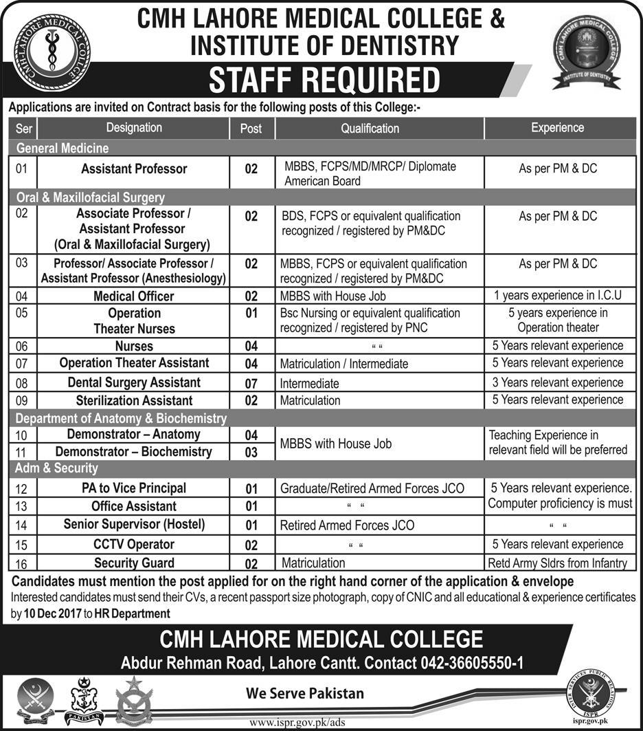 CMH Medical College Lahore Jobs 2017 Pak Army ISPR December Advertisement