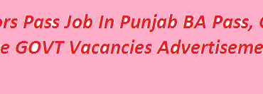 Bachelors Pass Job In Punjab 2018 BA Pass, Graduate Base GOVT Vacancies Advertisement