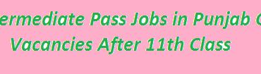 Intermediate Pass Jobs in Punjab 2018 GOVT Vacancies After 11th Class