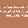 Intermediate Pass Jobs in Rawalpindi 2018 Pak Army, GHQ, SSG, Military Advertisements
