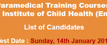 National Institute of Child Health NICH Paramedical Training Courses NTS Test Result 2018 14th January
