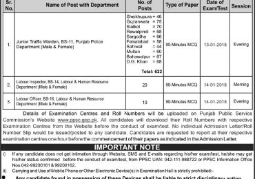 PPSC Punjab Police Jobs Written Test 2018 Schedule For Junior Traffic Warden, Labour Inspector, Labour Officer