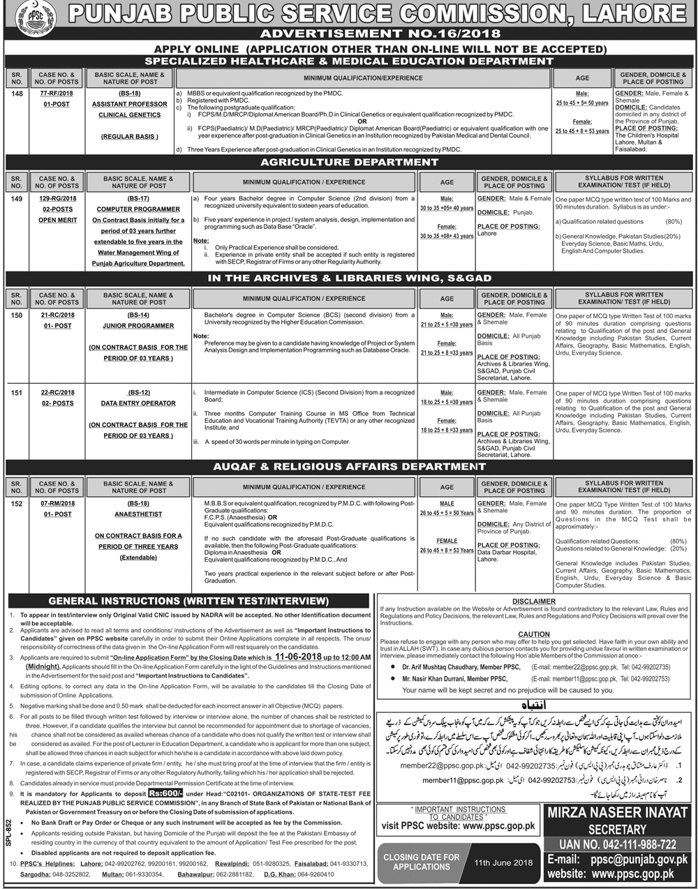 PPSC Jobs 2018 May Advertisement Today Medical Vacancies, Data Entry, Computer Programmer