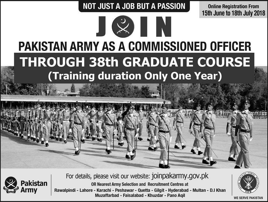 Join Pak Army Graduate Course 2018 Online Registration Age Limit Advertisement