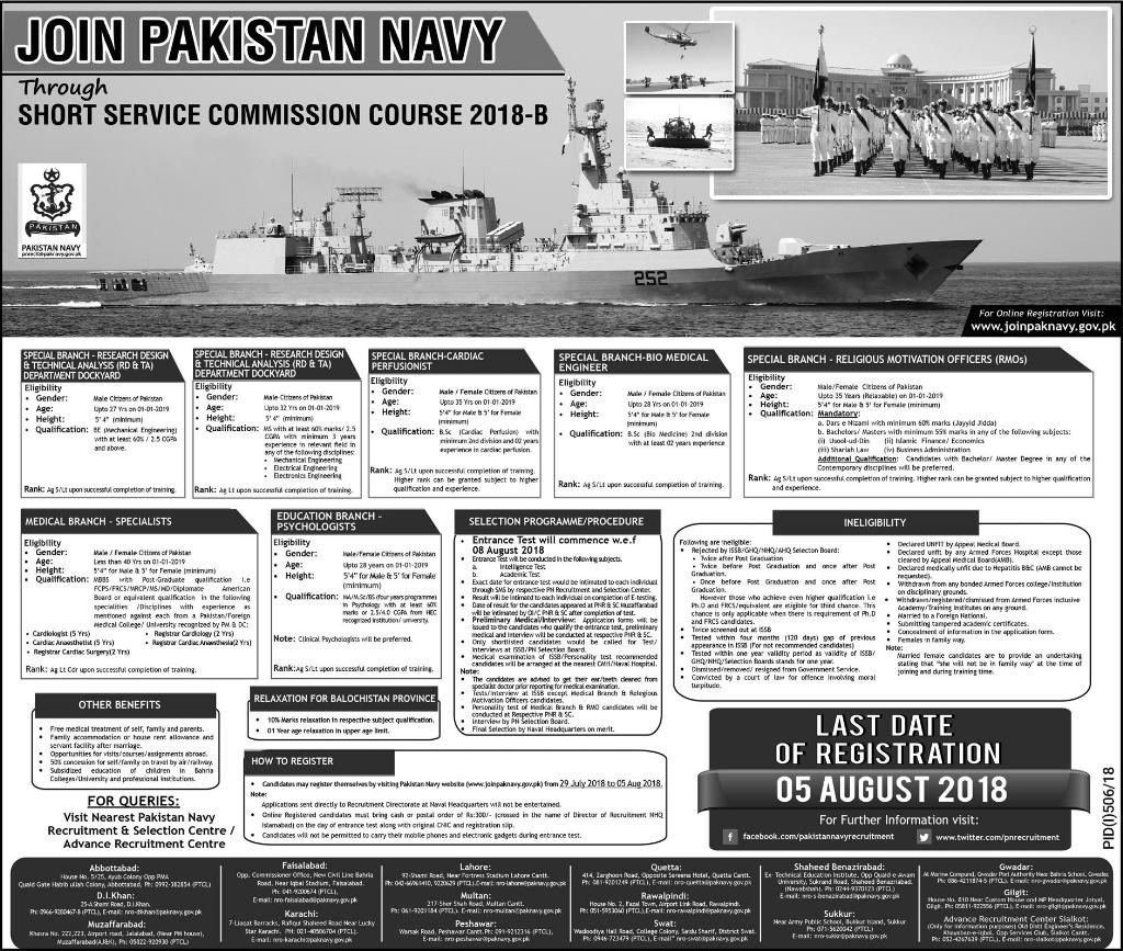 Pakistan Navy Short Service Commission Course 2018 B Registration Form Date