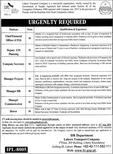 Lahore Transport Company LTC Jobs 2018 Application Form Last Date